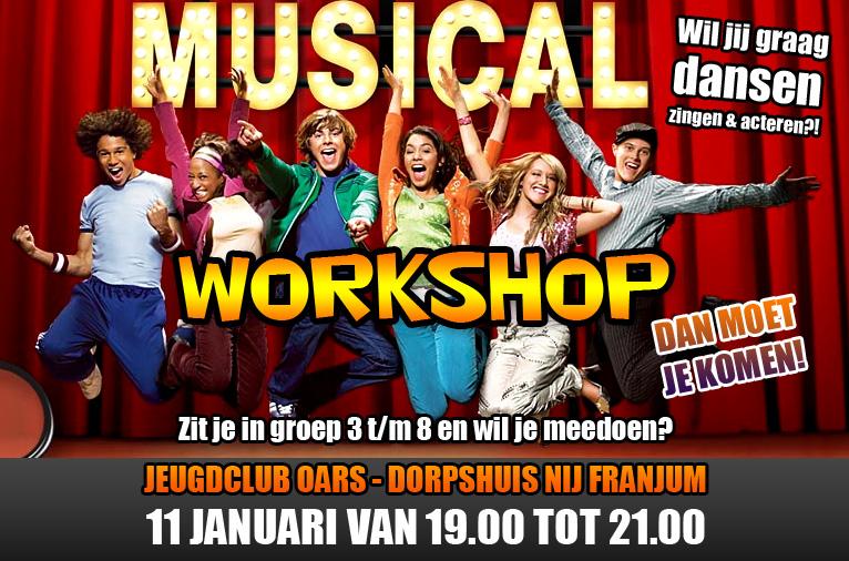 Oars Musical Workshop (groep 3 t/m 8) vrijdag 11 januari vanaf 19.00 uur