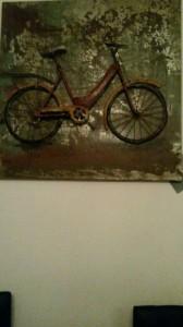 kunstwerk, symbolisch  voor reizen op de fiets