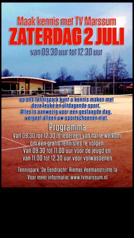 Gratis tennisles voor jong en oud(er)