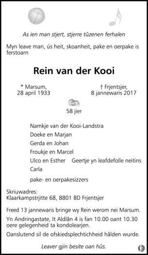In memoriam Rein van der Kooi