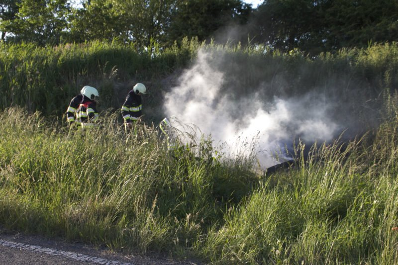 Brand op oude autoweg