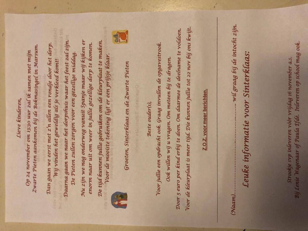 Marsum Info Uitnodiging Sinterklaasfeest